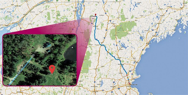 "Google Maps directions from Boston, MA to ""Vermont"" - COURTESY OF GOOGLE MAPS/GOOGLE EARTH"
