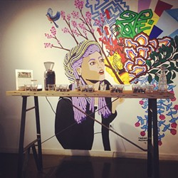 Mural at Brio and a cupping setup - COURTESY OF BRIO