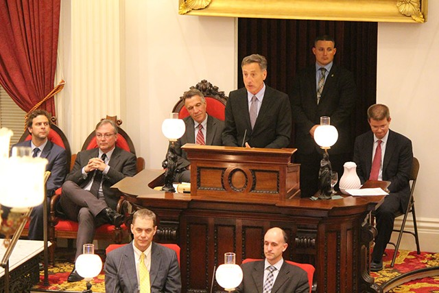 Gov. Peter Shumlin addresses a joint assembly of the Vermont House and Senate early Saturday morning. - PAUL HEINTZ