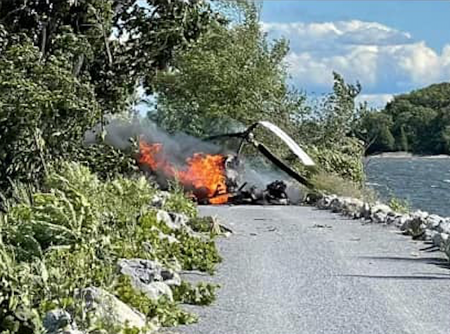 The downed helicopter - COURTESY OF COLCHESTER POLICE