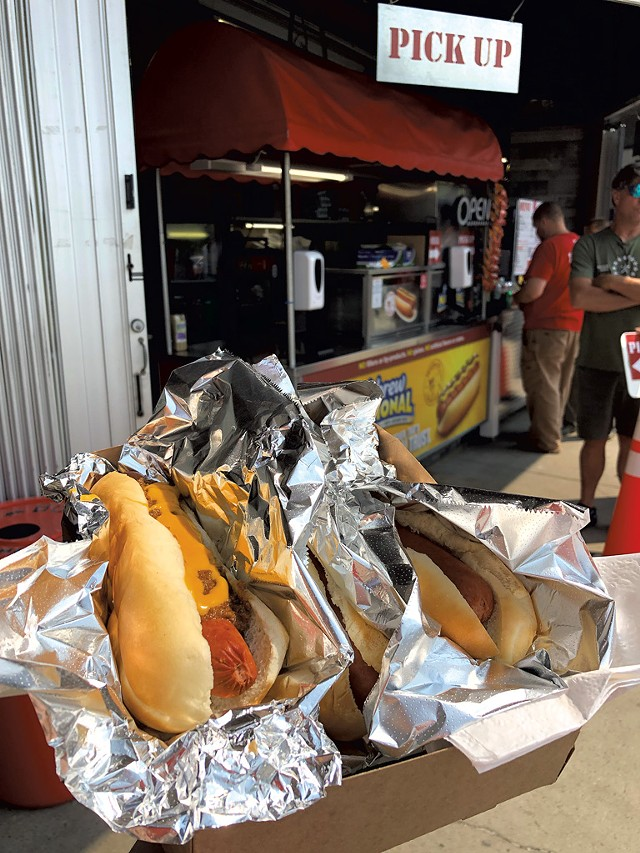 Hot dogs at Out Front Foods at Home Depot - JORDAN BARRY ©️ SEVEN DAYS