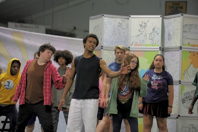 Yeshua Armbrister rehearsing with cast of Listen Up - STEVE LEGGE