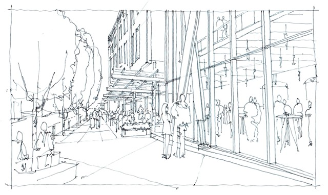 Rendering of the proposed Strand building in Winooski - COURTESY OF REDSTONE
