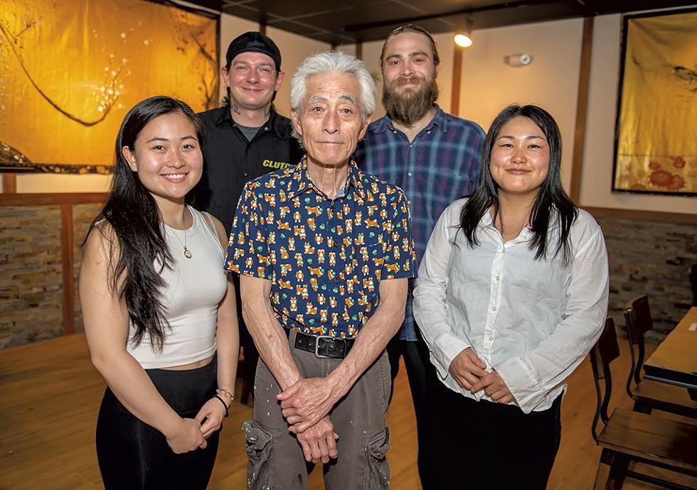 "The team behind Sushi Maeda on Burlington's Cherry Street. From left: Reiko Maeda, Patrick Dougherty, Kazutoshi ""Mike"" Maeda, Shane Hardy-Johnson and Minori Ueki - DARIA BISHOP"