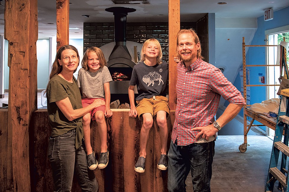 Mary's Restaurant at the Inn at Baldwin Creek will soon become the Tillerman. New owners Kate Baron and Jason Kirmse with their sons, Oliver (left) and Henry - CALEB KENNA