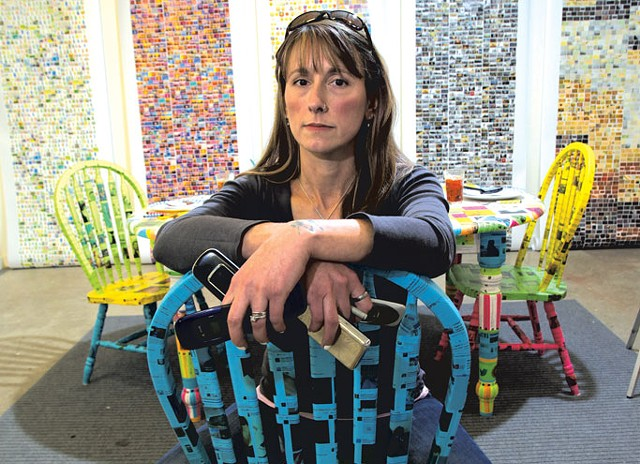 """Kristen M. Watson with """"FEED (Alone, together)"""" in front of her """"TMI Prints"""" series - MATTHEW THORSEN"""