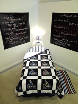 """""""Comforter"""" (center), with """"Notice Me"""" (left) and""""Ignore Me"""" (right) - MATTHEW THORSEN"""