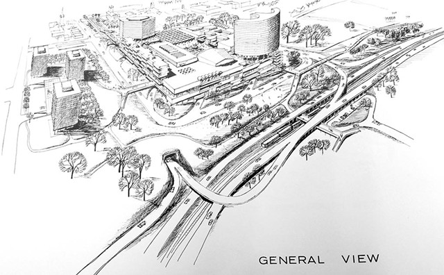 A 1964 Horizon document envisioning the urban renewal zone and elevated highways along the lake - COURTESY