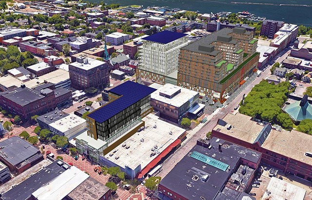 Rendering of the northeast aerial view of the proposed construction - COURTESY OF BURLINGTON TOWN CENTER