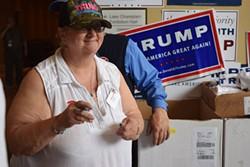 Cheryl Donlon of Enosburg Falls volunteers for Republican presidential candidate Donald Trump at Saturday's Republican State Convention. - TERRI HALLEBECK