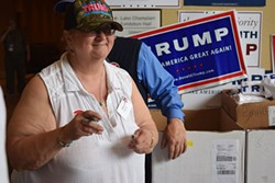 Cheryl Donlon of Enosburg Falls volunteers for Republican presidential candidate Donald Trump at Saturday's Republican State Convention. - TERRI HALLEBECK