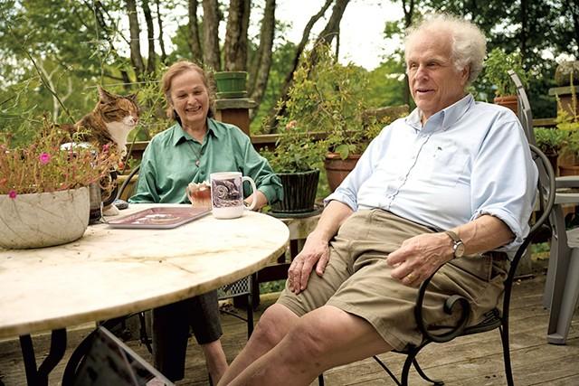 Kate and Bill Schubart with their cat Bridget - BEAR CIERI