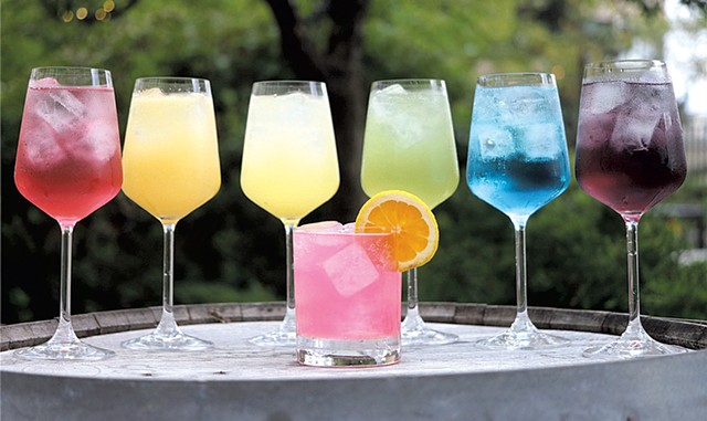 Juniper's Outright Orange cocktail (small, center) - COURTESY OF RACHEL KUCHARSKI/HOTEL VERMONT