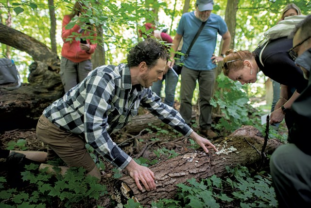Ari Rockland-Miller (left) pointing out saprophytic (decomposer) mushrooms on a downed log to Tamara Densmore (right) and Eric Tieman (center), both of New York City - DARIA BISHOP