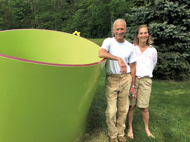 """Frank and Elaine Ittleman next to """"LimeTonic"""" by  Charles Orme - PAMELA POLSTON"""