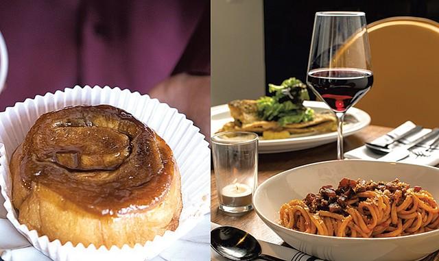 From left: Cinnamon bun at - Haymaker Bun; bucatini Amatriciana - at the Arcadian - FILE: CALEB KENNA
