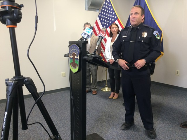 Burlington Police Chief Brandon del Pozo speaks at a press conference Friday morning announcing that the alleged killers of Amos Beede have been captured in San Diego. - MARK DAVIS