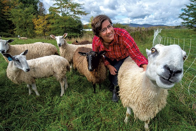 Katie Sullivan checking on her flock in Albany - JEB WALLACE-BRODEUR