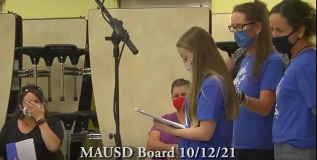 Teacher Victoria Thompson reading her statement to the school board - SCREENSHOT/NORTHEAST ADDISON TELEVISION