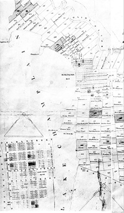 An 1810 map showing lease land in Burlington - COURTESY OF CITY OF BURLINGTON