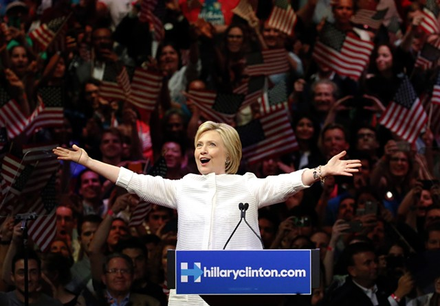 Hillary Clinton claims the Democratic presidential nomination Tuesday night in Brooklyn. - AP PHOTO/JULIO CORTEZ