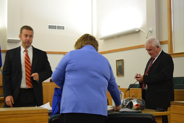Defense attorney Brooks McArthur confers with Franklin County Deputy State's Attorney Diane Wheeler and State's Attorney Jim Hughes. - TERRI HALLENBECK