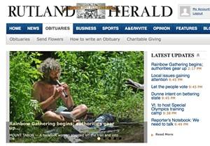 Rutland Herald website - SCREENSHOT