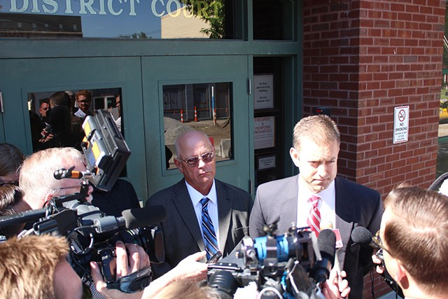 Sen. Norm McAllister and attorney Brooks McArthur last Thursday outside Franklin Superior Court. - PAUL HEINTZ