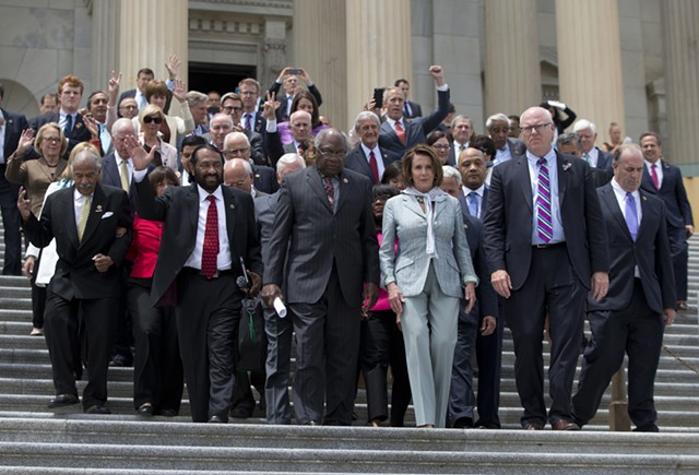 Congressman Peter Welch follows House leaders out of the U.S. Capitol Thursday after a 25-hour sit-in. - AP PHOTO/CAROLYN KASTER