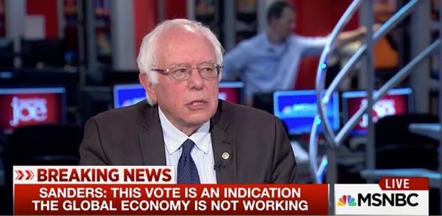 Sen. Bernie Sanders appears Friday morning on MSNBC. - SCREENSHOT