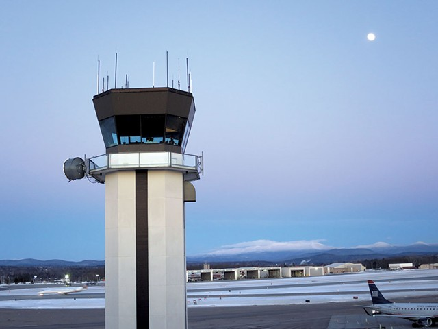 The air traffic control tower at Burlington International Airport - MATTHEW THORSEN