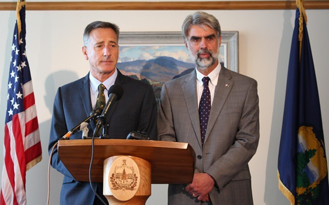 Gov. Peter Shumlin and Vermont State Colleges Chancellor Jeb Spaulding - FILE: PAUL HEINTZ