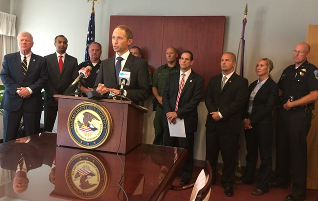 U.S. Attorney Eric Miller is joined by local and federal law enforcement officials during a press conference in Burlington. - MARK DAVIS