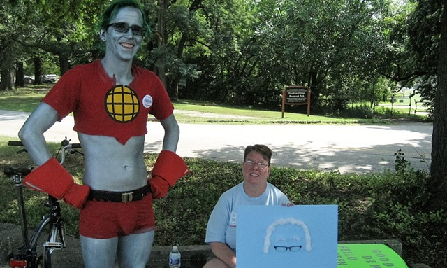 Michael Doyle of Leavenworth, Kan. as Planet Man, alongside Judy O'Leary of Bolton Landing, NY. - KEVIN J. KELLEY