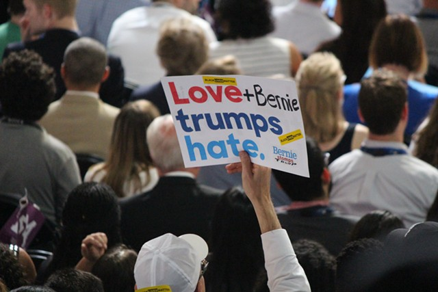 A Bernie Sanders supporter Monday night at the Democratic National Convention in Philadelphia - PAUL HEINTZ