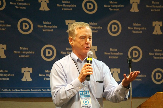 Former governor Howard Dean addresses Vermont delegates to the Democratic National Convention Tuesday in Philadelphia. - PAUL HEINTZ