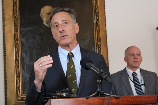 Gov. Peter Shumlin at the Statehouse in March - FILE: PAUL HEINTZ