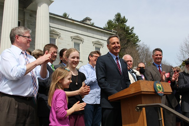 Gov. Peter Shumlin at the GMO bill signing ceremony in 2014. - PAUL HEINTZ/FILE