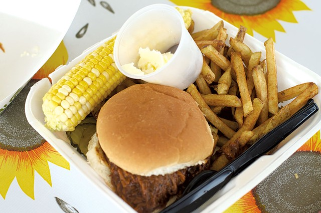 Pulled pork, fries and corn at the Copper Plate - HANNAH PALMER EGAN