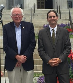 Sen. Bernie Sanders and Sen. David Zuckerman earlier this year in Montpelier - COURTESY: DAVID ZUCKERMAN