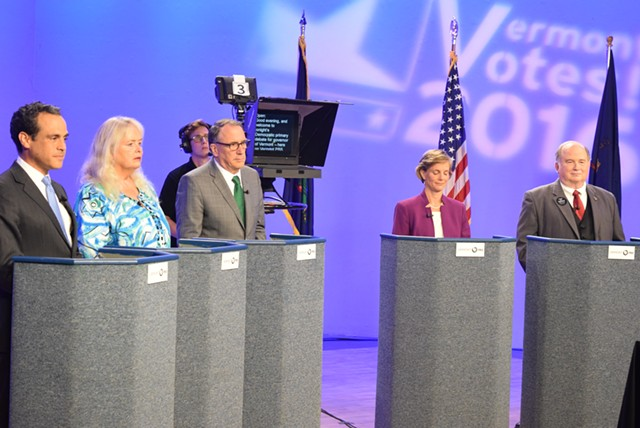 From left, Democratic candidates for governor: Matt Dunne, Cris Ericson, Peter Galbraith, Sue Minter and H. Brooke Paige at a debate Tuesday at Vermont PBS. - TERRI HALLENBECK