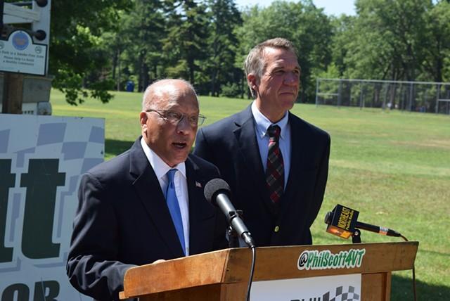 Randy Brock (left) endorses Phil Scott for governor. - TERRI HALLENBECK