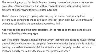 A campaign pledge from Democrat Matt Dunne's website - SCREENSHOT