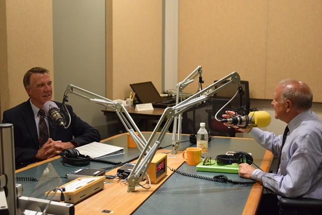 Republican gubernatorial candidates Phil Scott (left) and Bruce Lisman at a Vermont Public Radio debate this week. - TERRI HALLENBECK