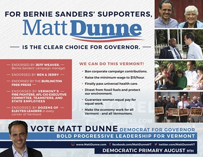 The back of a mailer sent this week by Democratic gubernatorial candidate Matt Dunne. - COURTESY OF MATT DUNNE FOR GOVERNOR