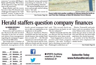 The front page of the Rutland Herald on Friday, August 5, 2016 - SCREENSHOT