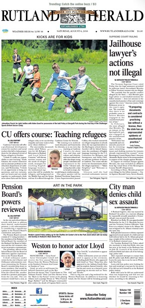 The front page of the Rutland Herald on Saturday, August 6, 2016 - SCREENSHOT