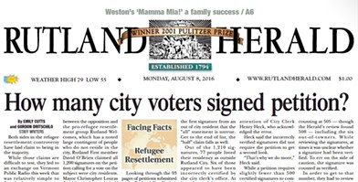 The front page of the Rutland Herald on Monday, August 8, 2016 - SCREENSHOT