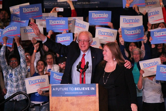 Sen. Bernie Sanders and his wife, Jane O'Meara Sanders, at a rally in Reno, Nev. - PAUL HEINTZ