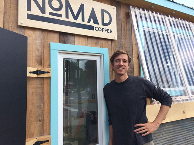 Andrew Sepic in front of the Nomad Coffee trailer